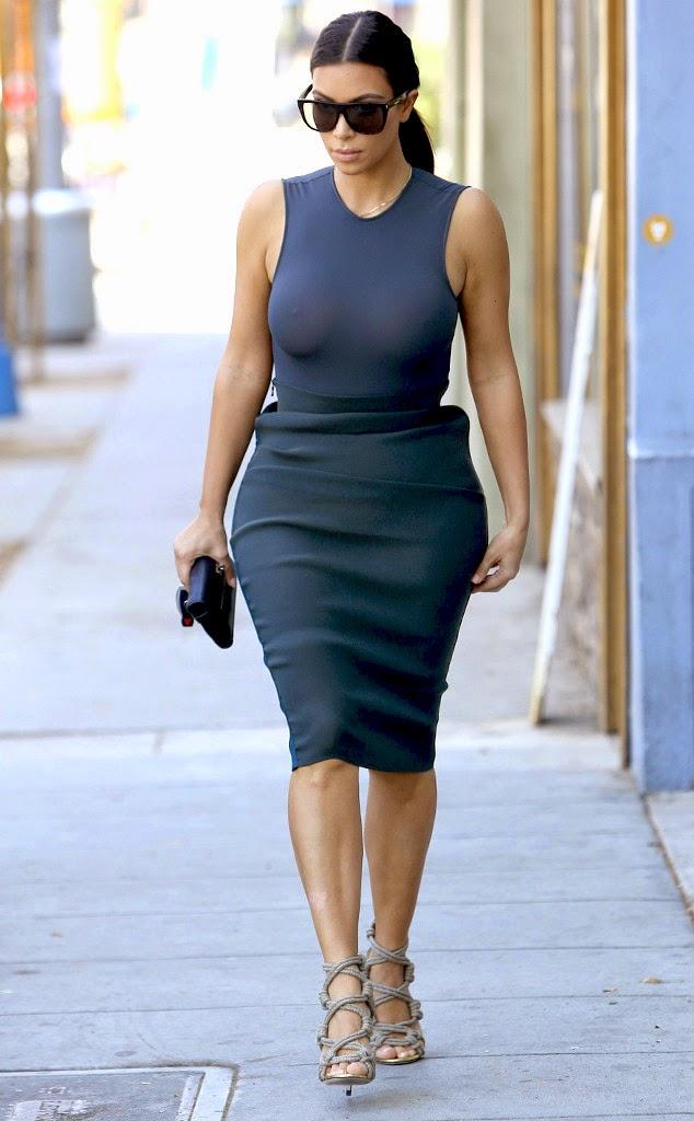 Kim Kardashian No Bra Day Photos