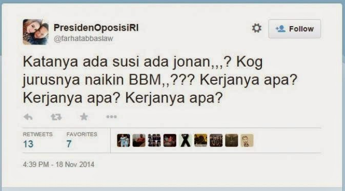 BBM Naik, Farhat Abbas Kritik Pemerintahan Jokowi