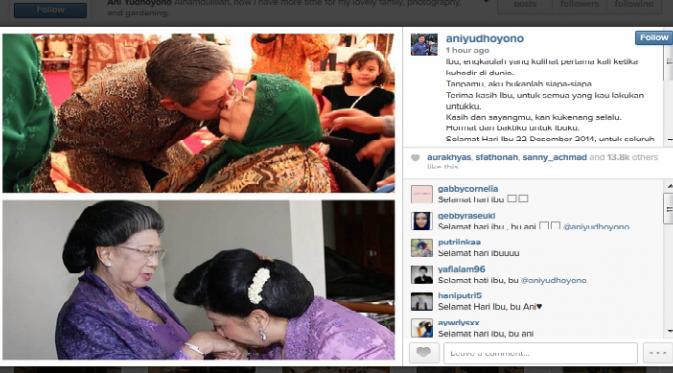 Cara Ani Yudhoyono Ucapkan Selamat Hari Ibu di Sosmed