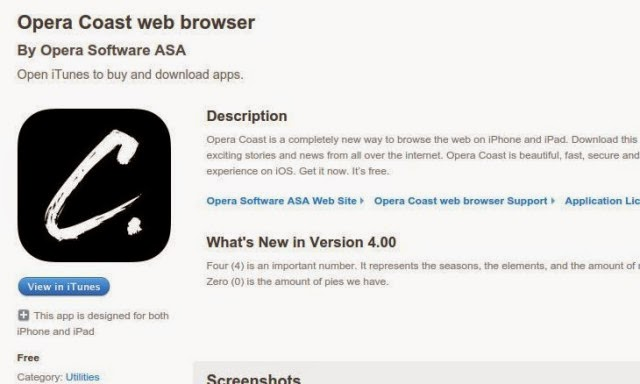Browser Opera Coast 4.0 Sudah Tersedia Untuk iOS