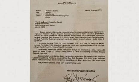 Surat Penunjukkan Budi Gunawan Sebagai Calon Kapolri
