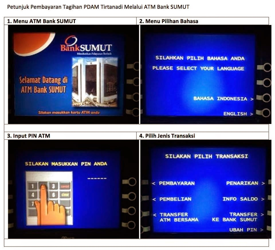 Cara Pembayaran Rekening Air Melalui ATM Bank SUMUT